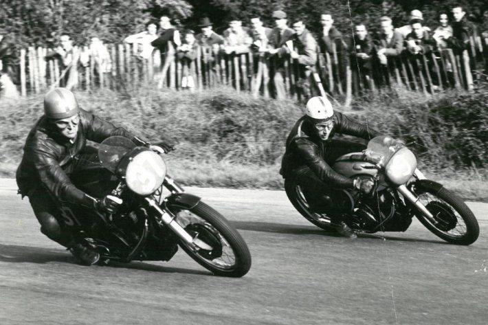 Derek Minter and John Surtees at Brands Hatch on Manx Nortons