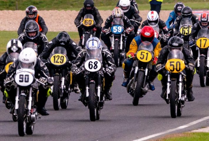 A full grid of classic race bikes at Mallory Park with the Lansdowne Classic Series